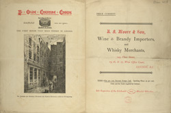Advert for BA Moore & Son, wine & brandy importers